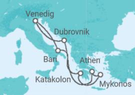 Reiseroute der Kreuzfahrt   Die Wunder des Mittelmeeres - MSC Kreuzfahrten
